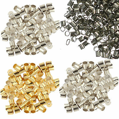500 SILVER PLATED TUBE CRIMP BEADS 2mm