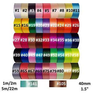 NASTRO-di-raso-40mm-46-Colori-1m-2m-5m-22m-singolo-davanti-UK-FORNITORE