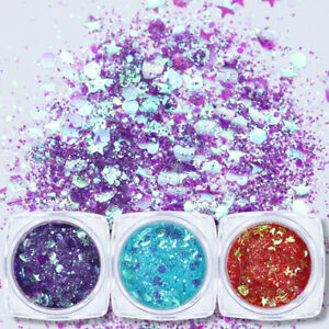 Holografisch-Nagel-Pulver-Pailletten-Nail-Powder-Sequins-Nail-Art-3D-Dekoration