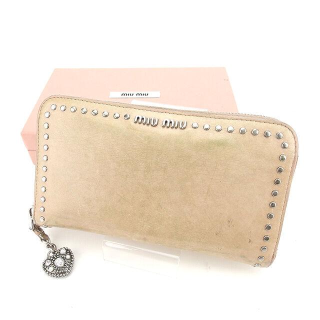 miumiu Wallet Purse Long Wallet Pink Silver Woman Authentic Used Y5888