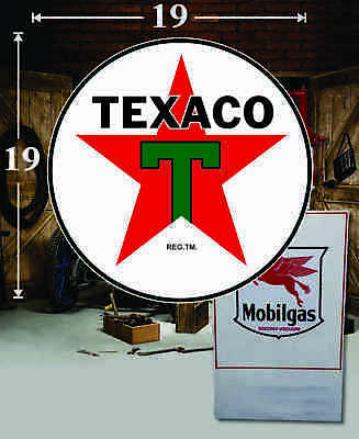 """19/"""" x 19/"""" TEXACO Shield Gas Vinyl Decal Lubester Oil Pump Can Lubster"""