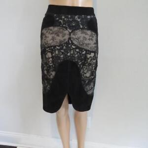 e53cdafdf62 Image is loading Tom-Ford-Black-Nude-Suede-Lace-Skirt-Size-