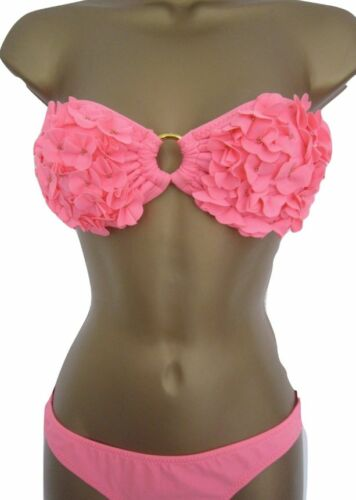 Ladies River Island Bikini 3d flowers bandeau ruffle coral Halter mix /& match.