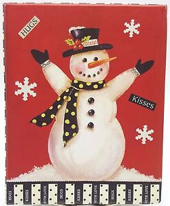 Snowman-Christmas-Holiday-Note-Cards-Hugs-Kisses-With-Love-20ct-2-Colors-Boxed