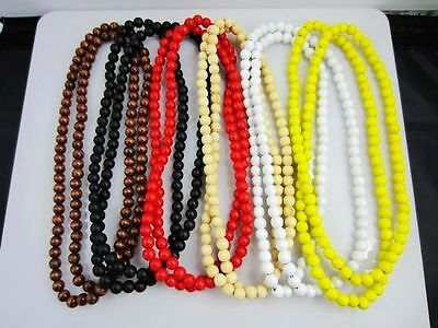 """New Hip Hop 8mm Chain Wood Beads Rosary chain Necklace 36"""" Many Corlors"""