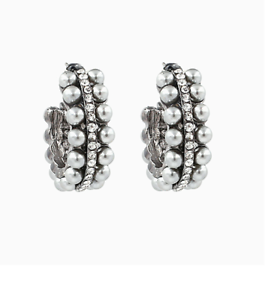 Image Is Loading Zara Silver Vintage Pearl Hoop Stud Earrings