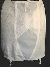 vintage Open girdle Garters pinup Burlesque XL relaxed Corset rayon Ivory 44