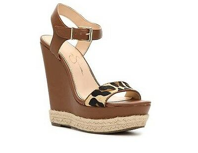 Jessica Simpson Ashella Wedge Sandal Tan Brown Cognac Leopard Size 9 New