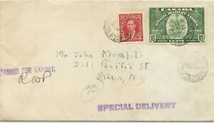 10c Special Delivery + 3c surface rate to USA 1942  cover Canada