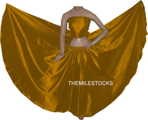 TMS GOLD Satin Full Circle Skirts Belly Dance Costume Gypsy Tribal Troup JUPE
