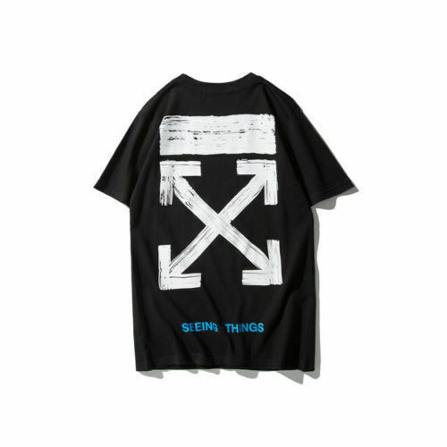 2018 New OFF WHITE Graffiti Print Men/'s Short Sleeve T-Shirt Cotton Unisex Tee