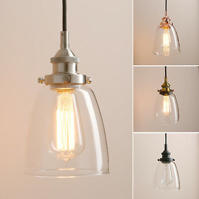 """PATHSON 5.6/""""CLOCHE CLEAR GLASS VINTAGE INDUSTRIAL CEILING PENDANT LIGHT FITTINGS"""