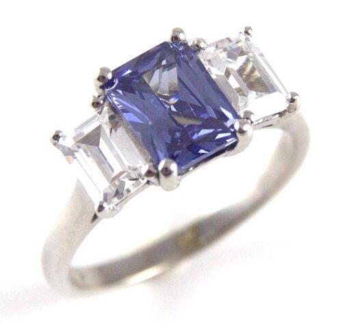 Diamond-Unique Tanzanite & Diamond 3ct Emerald Cut Trilogy Ring 9ct gold