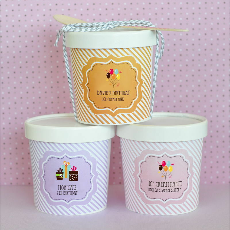 75 Personalized Birthday Theme Mini Ice Cream Containers Birthday Party Favors