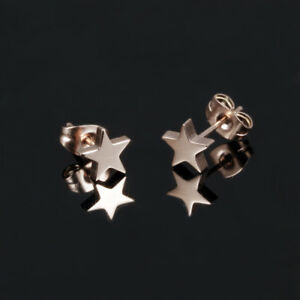 Simple-Cute-Smooth-Star-Rose-Gold-GP-Surgical-Stainless-Steel-Stud-Earrings-Gift