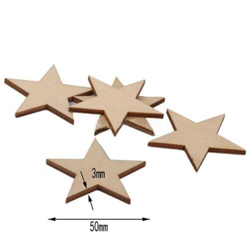 50 mm 25Pcs À faire soi-même étoile en Bois formes coupées pour bricolage bois Artisanat Embellissements Laser