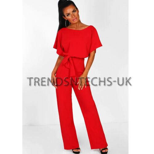 Womens Batwing Sleeve Jumpsuits Tie Waist Wide Leg Trousers Playsuit UK Size6-18