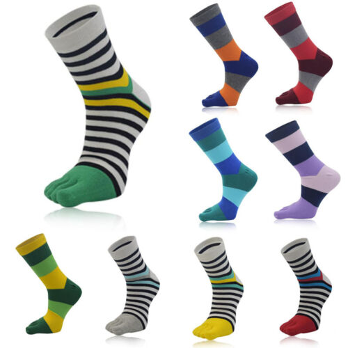 Womens Cotton Toe Socks Sports Breathable Striped Five Finger Middle Tube Sock