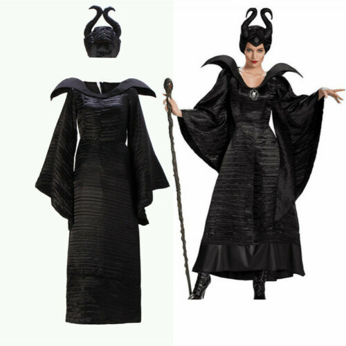 Adult Maleficent Deluxe Evil Queen Cosplay Costume Outfit Ladies Fancy Dress