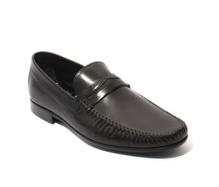 ROBERTO SERPENTINI 43206 Black Leather Loafers Shoes 42 / US 9