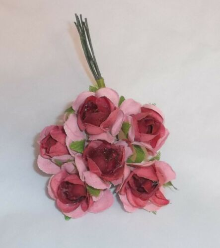 v ROSE millinery cloth Vintage style 6 silk ROSE flowers pick ALEXANDER dolls