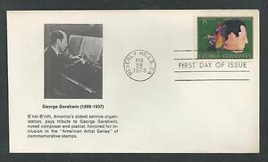 #1484 George Gershwin, Compositeur 1973 B 'nai B'rith Cachet Premier Jour Housse Judaica-afficher Le Titre D'origine