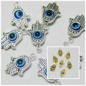 b865bd54ab2df 10/50Pcs Hamsa Hand EVIL EYE Kabbalah Luck Charms Pendant Fit ...
