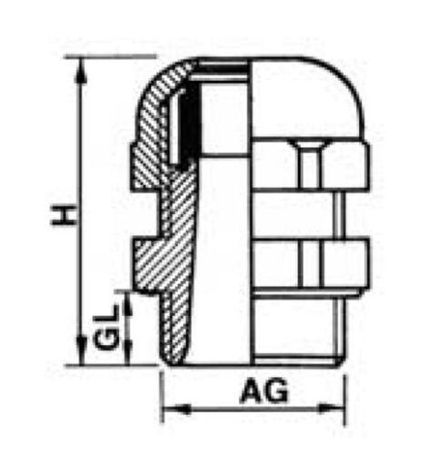5 de plástico gris 50 unidades jspg 13,5kvs-g Cable unión roscada con contra madre pg13
