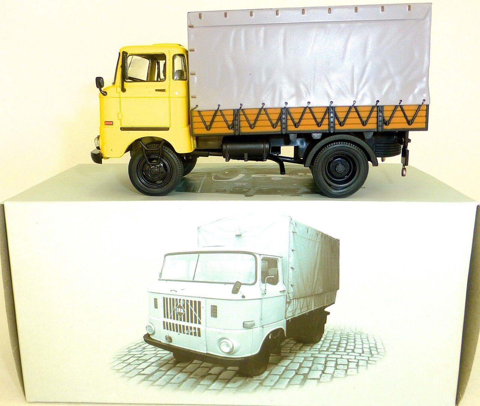 Ifa W50 L Bâche de Camion à Plat Cabine D'Opérateur yellow 1 43 Atlas Est Neuf