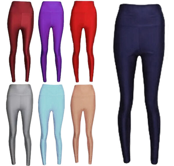 1s Nuova Collezione Donna Discoteca Leggings Vita Alta Da Donna In Tessuto Lucido Danza 8-14