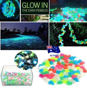 1-100x-Glow-in-The-Dark-Stones-Pebbles-Rock-FISH-TANK-AQUARIUM-Garden-Road-Decor