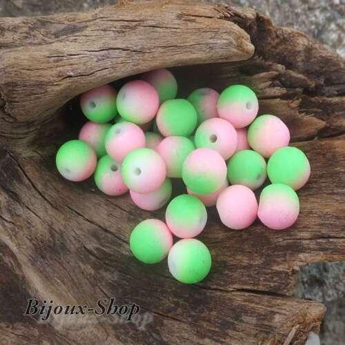 Rose /& Vert 50 Perles de bohème 8 mm effet caoutchouté