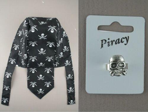 Child/'s Boy Girl Skull /& Crossbones Black Pirate Cap Bandanna Hat Ring Wallet