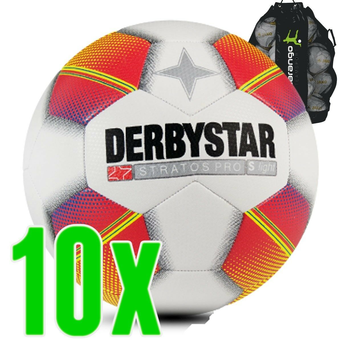 Derbystar Stratos Pro S-Light weiss rot gelb 10er Ballpaket Jugendball Kinder