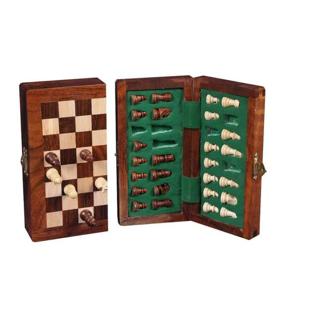 CHESS BOARD GAME SET COMPENDIUM TRAVEL GAMES CHESS TRANSPARENT WOOD MAGNETIC