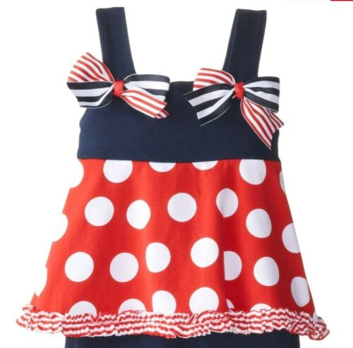 Rare Editions Baby//Toddler Girl/'s Fun Americana Top /& Short Set-Size-24M or 3T