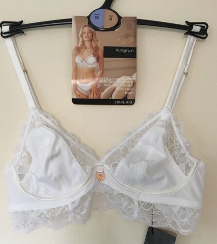 M/&S ROSIE FOR AUTOGRAPH SIZE 30B WHITE NUDE ROSE WIRE FREE BRALET BRA FREE POST