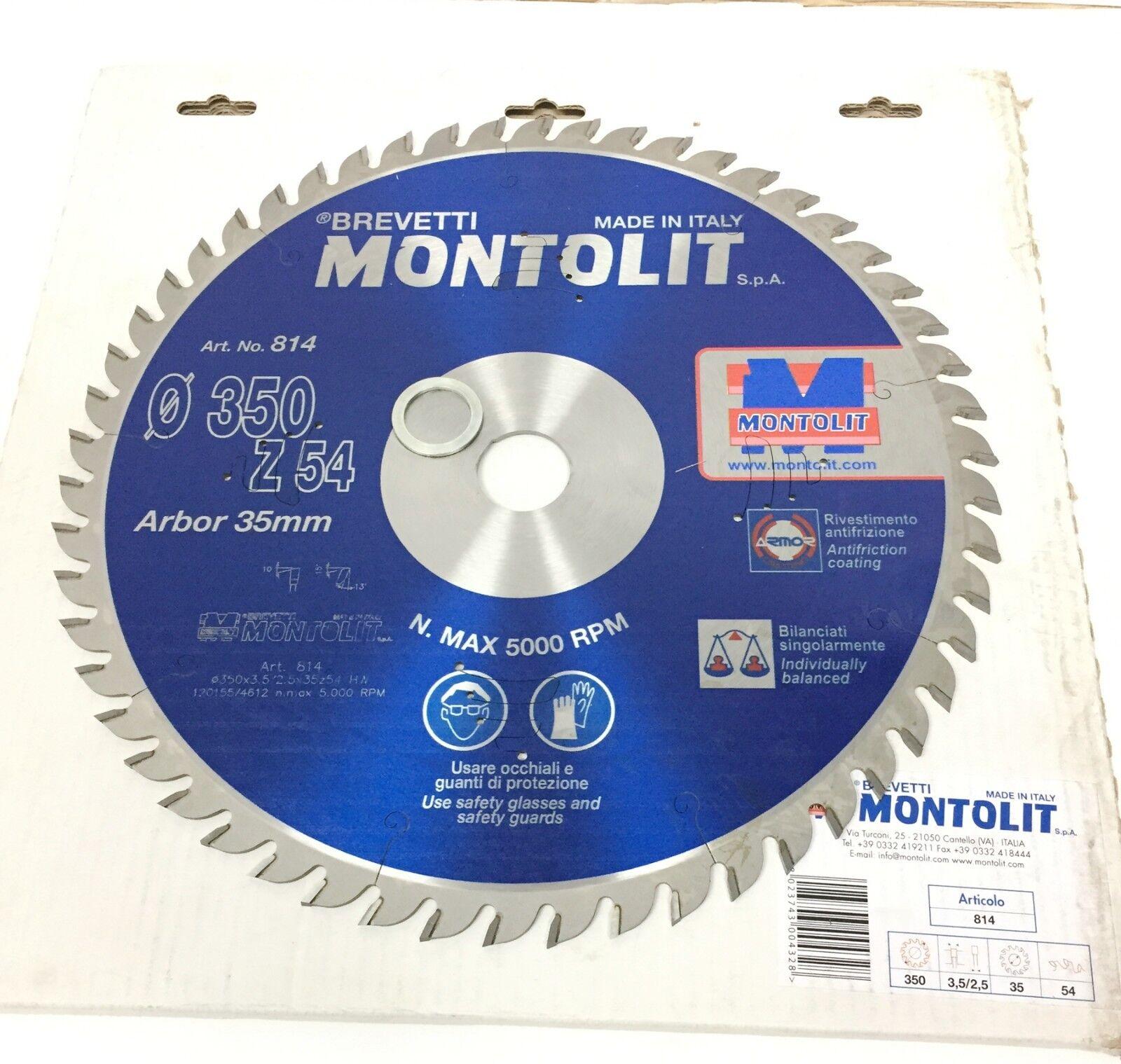 Disco ø 350 mm 54 dientes agujero 34 para sega circular corte madera MONTOLIT