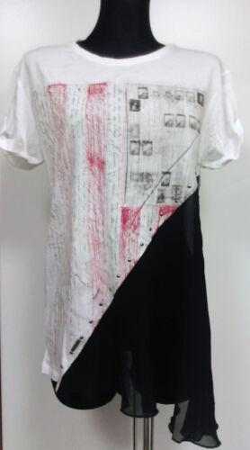 Guess Damen Shirt Top Oversize T-shirt Nieten Chiffon Gr XS NEU Weiß UVP 65 €