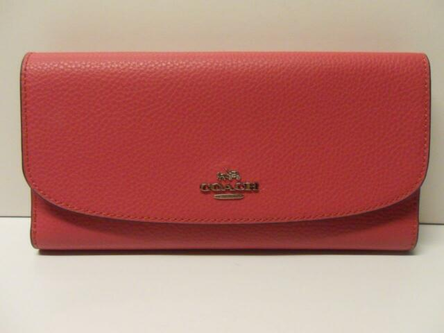 74739d95ba510a NWT Coach Pebbled Leather Envelope Wallet 16613 Majenta Pink NO CHECKBOOK  COVER