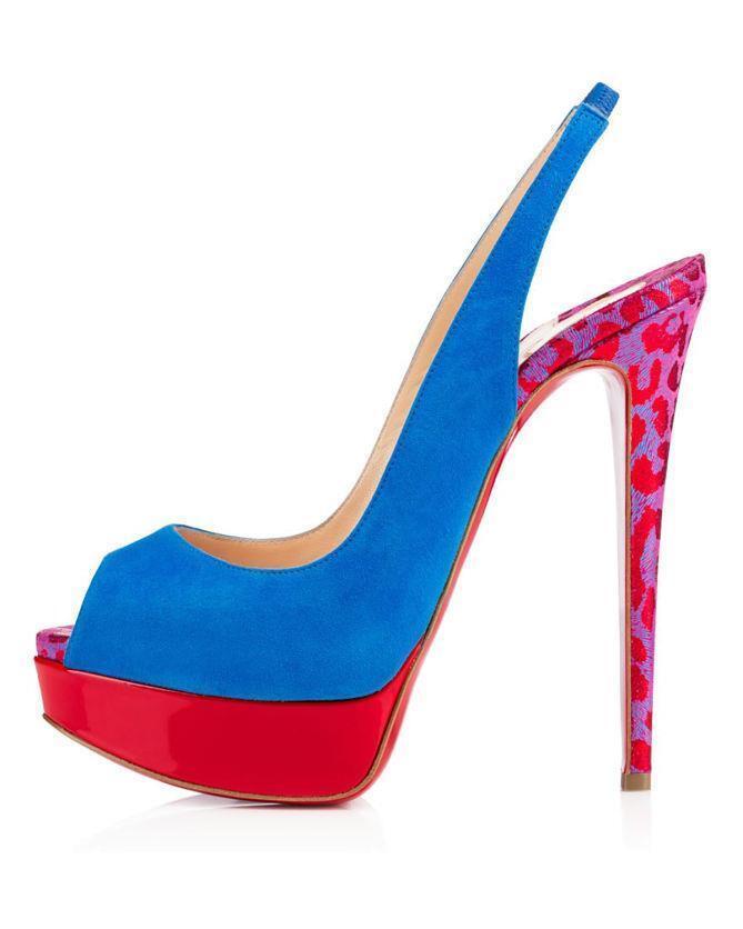 Christian Louboutin LADY PEEP SLING 150 mocka Platform Sandals Sandals Sandals skor klackar  975  tidlös klassiker