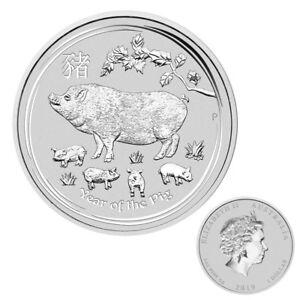 1 oz Silber Lunar 2019 Schwein Jahr des Schweins Australien Silbermünze Geschenk