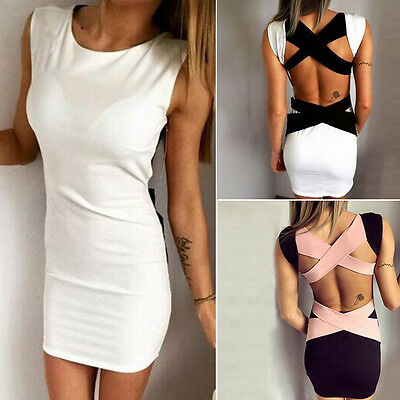 Women Sleeveless Bandage Backless Cocktail Evening Party Bodycon Mini Dress