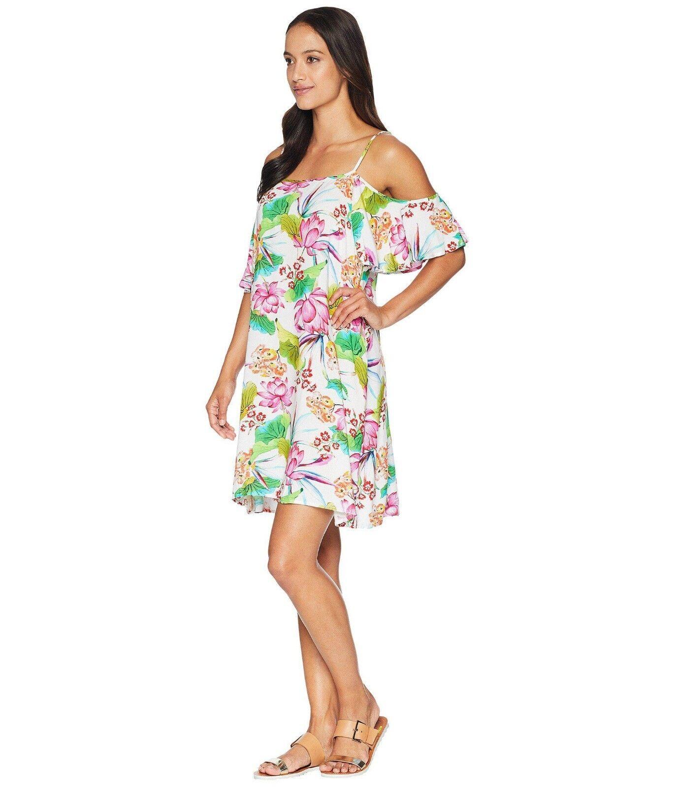 NEW La whitea Bora Bora Cold Shoulder Flutter Sleeve Dress  Cover up  Size S