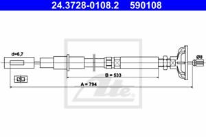 Seilzug Kupplungsbetätigung ATE 24.3728-0108.2
