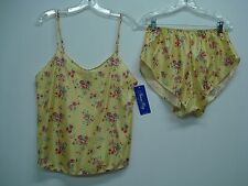 USA Made Nancy King Lingerie Camisole w/ Tap Pant Size Large Yellow Multi #453N