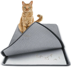 Cat-litter-Mat-Double-Layer-Pad-Large-Flexible-Trapping-for-Box-Pan-Gray