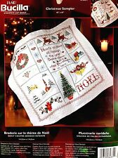 """New Bucilla Embroidery Stamped Lap Quilt Kit Christmas Sampler #84831 45""""X 45"""""""