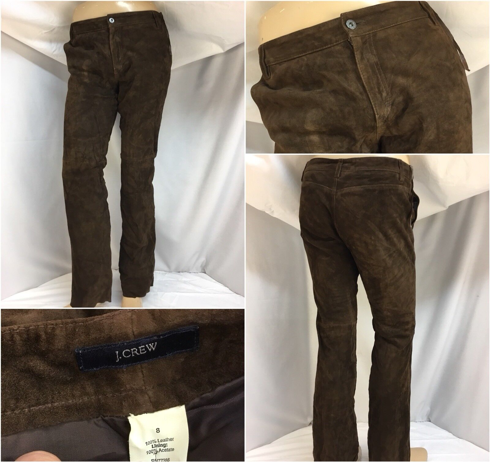 J. Crew Suede Pants Sz 8 Brown Flat Front Boot Cut Made In India Mint YGI 9849