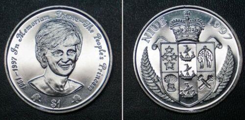 1997 NIUE ISLAND 1$ DIANA PRINCESS OF WALES MEMORIAM UNC COIN NEW ZEALAND STATE